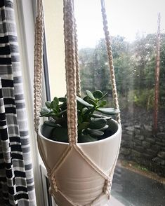 R a m s a y - Square knot for a nice clean, structured detailed look - Fits with the planter from ikea nicely :) . The 4, Plant Hanger, Macrame, Knots, Ikea, Planters, Cleaning, Fitness, Instagram