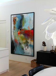 Stort maleri til køkken alrum af Pia Boe