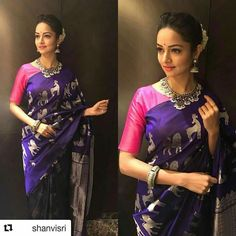 Gorgeous in our guttapusalu & Jhumka for with ・・・ One of my fav looks ❤️❤️❤️ totally in love with 🙈 Saree Accessories- Styled by fluffiest thanks guys😘😘 Indian Attire, Indian Wear, Indian Outfits, Half Saree Designs, Silk Saree Blouse Designs, Sari Blouse, Purple Saree, Or Violet, Simple Sarees