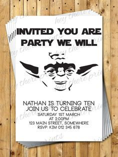 Yoda Birthday Invitations Star Wars Darth by HeyTherePrints, $12.00 https://www.etsy.com/listing/187244217/yoda-birthday-invitations-star-wars?utm_content=buffer5e421&utm_medium=social&utm_source=pinterest.com&utm_campaign=buffer