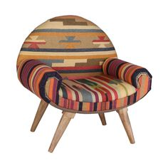 Thar Desert Arm Chair in Vintage Kilim FABRIC