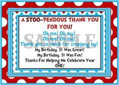Printable Dr. Seuss Thank You Card