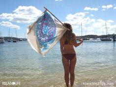 Bay & Fyfe's Puffer Fish print silk scarf goes to the beach.