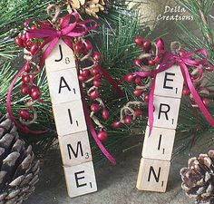 personalize ornaments made out of scrabble letters- I like this idea for name tags:)