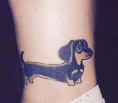 My dachshund ankle tattoo <3                                                                                                                                                                                 More