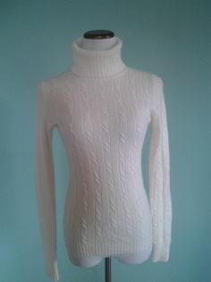 NEW J. CREW IVORY MERINO CASHMERE BLEND CABLE KNIT TURTLE NECK SWEATER SMALL