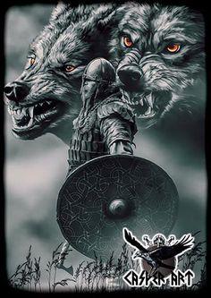 norse mythology Geri and Freki by thecasperart Fenrir Tattoo, Norse Tattoo, Armor Tattoo, Viking Symbols, Viking Art, Viking Tattoo Sleeve, Sleeve Tattoos, Tattoo Ink, Viking Warrior Tattoos