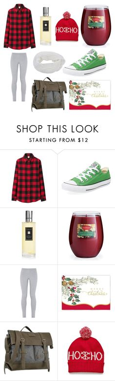 """Mailing Christmas Cards"" by xxmonnyxx on Polyvore featuring Uniqlo, Converse, Jo Malone, NIKE, ViaBella, Sherpani, shoes, flannel, beanies and twelvedaysofchristmas2k15"