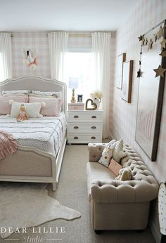 The pink box from HomeGoods perfectly matched the pink and while wallpaper we used in Lillie's new bedroom. (Sponsored pin)