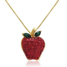 18k Gold over Sterling Silver Red Apple Crystal Pendant with Swarovski... ($50) ❤ liked on Polyvore featuring jewelry, necklaces, accessories, gold chain pendant, red jewelry, 18 karat gold jewelry, red crystal jewelry and red pendant