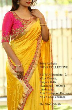 Lovely combination of yellow and pink Pink Saree Blouse, Pattu Saree Blouse Designs, Kurta Designs, Pink Blouse Design, Stylish Blouse Design, Saree Trends, Blouse Models, Hindus, Saris