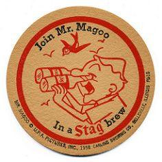 Vintage Advertisements, Vintage Ads, Stag Beer, Mr Magoo, Sous Bock, Beer Can Collection, Beer Mats, Beer Coasters, Old Signs