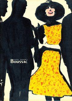 René Gruau, Illustrator — Images and vintage original prints Lanvin, Balenciaga, Givenchy, Jacques Fath, Christian Dior, Elsa Schiaparelli, Pierre Balmain, Mode Vintage, Vintage Ads