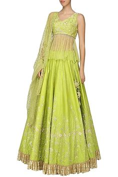 Architha Narayanam Featuring a lime green lehenga in raw silk and chantilly base with embellishments. It is paired with a matching peplum blouse and net dupatta. New Lehenga, Green Lehenga, Indian Lehenga, Bridal Lehenga, Cape Lehenga, Lehenga Blouse, Green Dress Outfit, Summer Dress Outfits, Indian Dresses