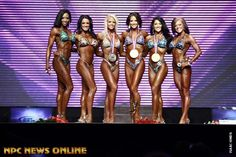 2012 IFBB Olympia (Top 6 ladies) left to right (names):TERESA ANTHONY-HEATHER DEES-NICOLE WILKINS-ERIN STERN-CANDICE KEENE-MALLORY HALDEMAN