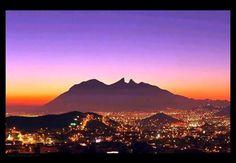 """Monterrey, Nuevo León Mexico and it's beautiful and distinct """"Cerro de la silla"""" (Hill-horse chair)."""