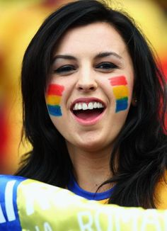Romania fan shows their support prior to the UEFA EURO 2008 Group C match…