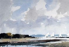 <b>Edward Wesson (1910-1983)</b> <br  /> watercolour, <br  /> On the Solent near Shalfleet, <br  /> signed, <br  /> <i>9.5 x 13.5in.</i>