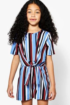 86bb6576886d Click here to find out about the Girls Stripe Knot Front Playsut from Boohoo,  part