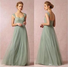 2016 New Sage Cap Sleeves Lace Bridesmaid Dresses Backless Long Maxi  Evening Gowns Party Prom Gowns Cheap BO8554 abff1e043518