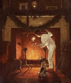 Norman Rockwell  Christmas Eve Painting