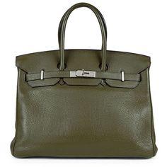 HERMÈS Vintage Green Clemence Birkin 35 (€10.965) ❤ liked on Polyvore featuring bags, handbags, vintage leather tote, leather purses, leather tote purse, green leather handbag and genuine leather handbags