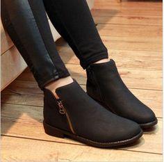 2012 Mulheres de Moda vintage Side Zipper ankle boots Martin botas de couro Sapatos Femininos Frete Grátis # WS8814