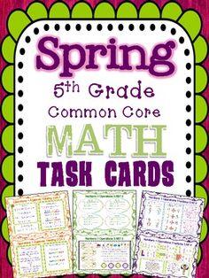 Spring Math Task Cards for Grade Common Core *All Standards* Test Prep Math 5, Math Test, Math Literacy, Guided Math, Math Classroom, Teaching Math, Classroom Decor, Math Strategies, Math Resources