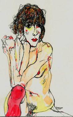 "Saatchi Art Artist CARMEN LUNA; Painting, ""3-EGON SCHIELE x Carmen Luna."" #art"