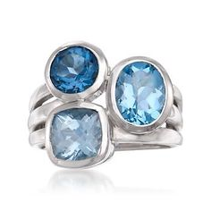 We love the gleaming display of color and shape in this ring, with  4.05 ct. t.w. blue topaz forming a stacked, multi-band look for contemporary styling! Features round, oval and square-shaped topaz gemstones. Polished sterling silver ring. Free shipping & easy 30-day returns. Fabulous jewelry. Great prices. Since 1952.