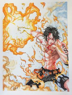 """Ace from """"one piece"""" - watercolors in paper"""