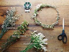 diy-wedding-flower-crown-genista-wax-flower-agapanthus