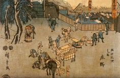 The road connecting Edo (Tokyo) and Kyoto Artist: Hiroshige Completion Date: 1850 Style: Ukiyo-e Genre: genre painting Gallery: Chacara do Ceu Museum, State of Rio de Janeiro Brazi