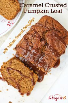 Best Pumpkin Loaf ever. Vegan, Gluten-free and oil-free. Topped with a Caramel Glaze that is baked on top to create a crusty, sweet topping and then glazed with the most amazing Caramel Spice Glaze! ONLY 8 ingredients. By http://TheVegan8.com
