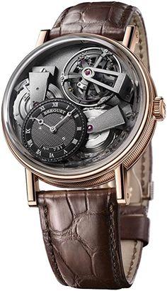 Breguet La Tradition Men's Rose Gold Tourbillon Power Reserve Swiss Made Mechanical Watch 7047BR/G9/9ZU