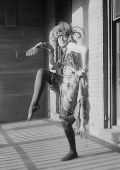 The Baroness Elsa von Freytag doing a performance art piece. She wore Dada. 1915, New York.