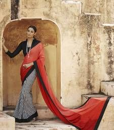 Buy Orange and Red printed jacquard saree with blouse jacquard-saree online
