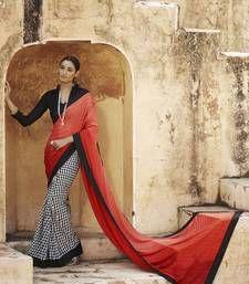 Buy Orange and Red printed jacquard saree with blouse jacquard-saree online