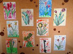 Jarní kytičky - tuš, klovatina a zapíjení vodovkami
