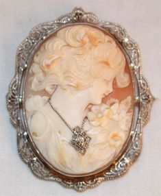 14k White Gold Diamond Accent Carved Shell Portrait Cameo Pin Brooch Antique #Unbranded