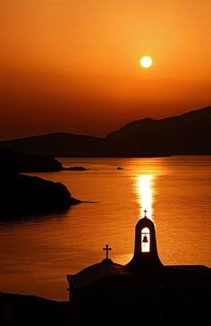 Magical sunset at Tinos island ~ Greece