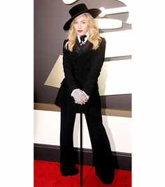 @Who What Wear - WHO: Madonna WHAT: Performer WEAR: Ralph Lauren double-breasted, wid-leg blacktuxedo from the S/S 14 collection.