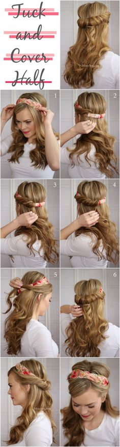 Use your favorite scarf or headband to create a charming take on a half updo. Simply roll and tuck hair around the back of the headband to create the illusion of a twisted hair crown and curl the lengths for a romantic look.