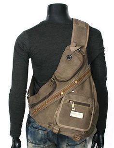 Amazon.com: Hombres de estilo militar de un solo hombro Crossbody resistente mochila de lona - Khaki Tan: Ropa