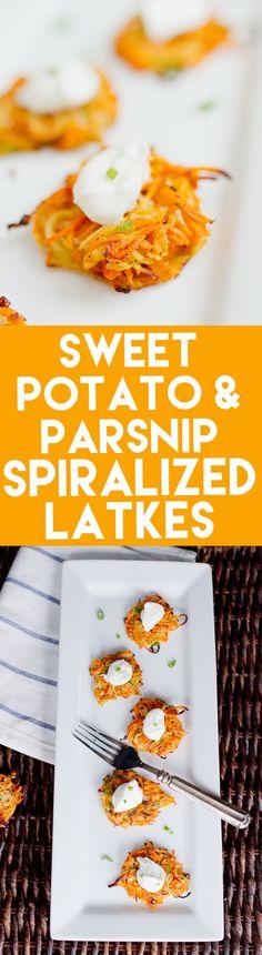 Sweet Potato & Parsnip Spiralized Latkes   A fun spin on normal sweet ...