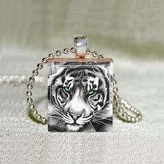 Scrabble Jewelry  Necklace  Tiger 1  Safari by MaDGreenCreations, $7.49