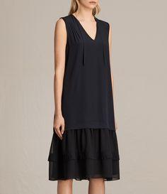 ALLSAINTS EU: Womens Enber Long Silk Dress (DARK INK BLUE)