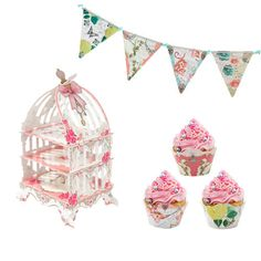Our intricate 3 Tier Cupcake Stand is perfect for a Tea Party, a Princess Party, a Bridal Shower, a Baby Shower or any Girl Celebration! Coordinate with our Te