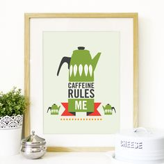 Cathrineholm Poster Mid Century modern Art illustration Coffee inspired in Cathrineholm design in Green - A3 poster size print - mid century. $23.00, via Etsy.