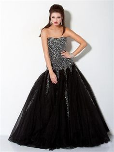 Black Ball Strapless Crystal Tulle 2013 Prom Dresses